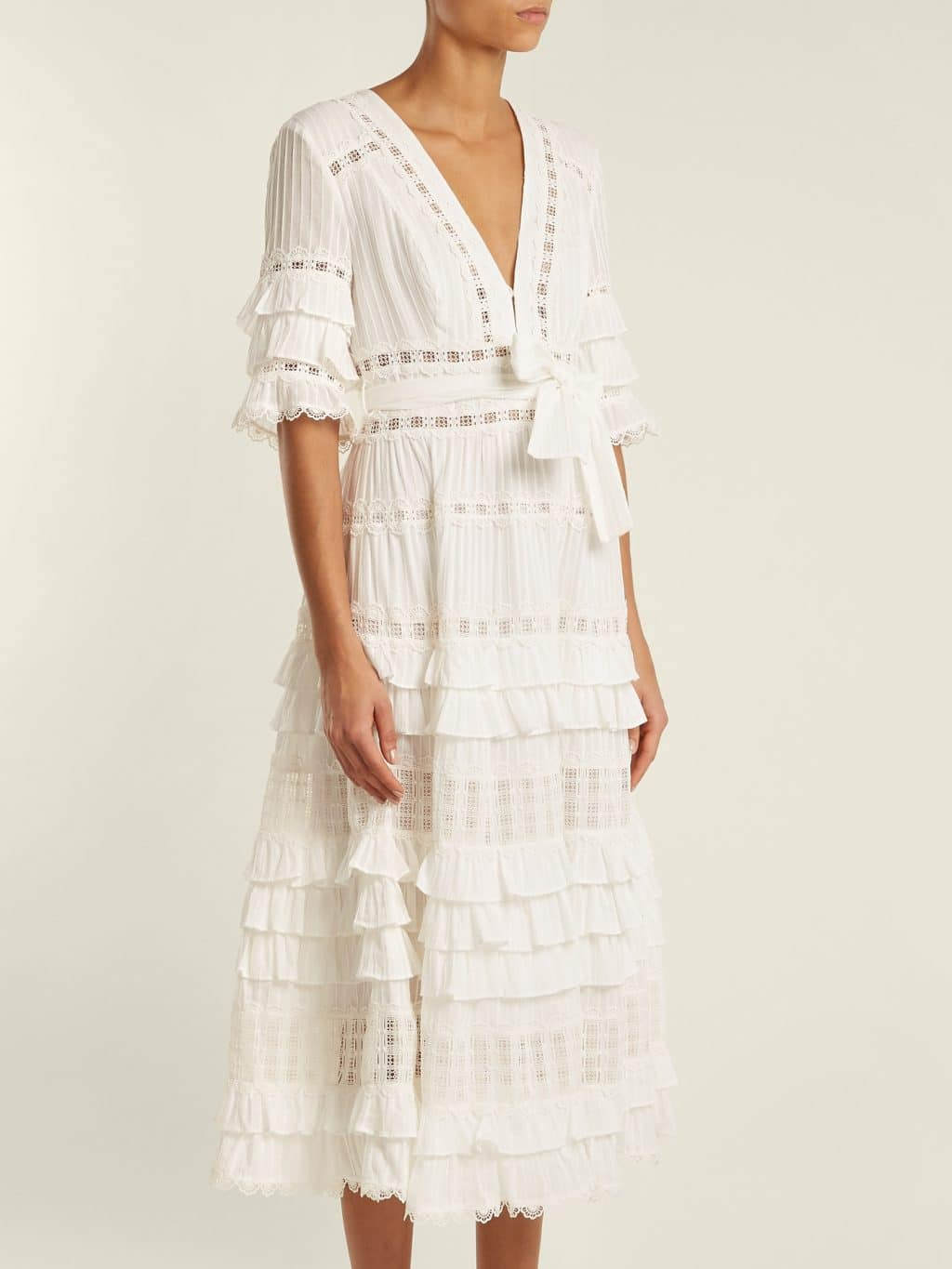 Zimmermann Corsail Lace Insert Cotton Ivory Dress We