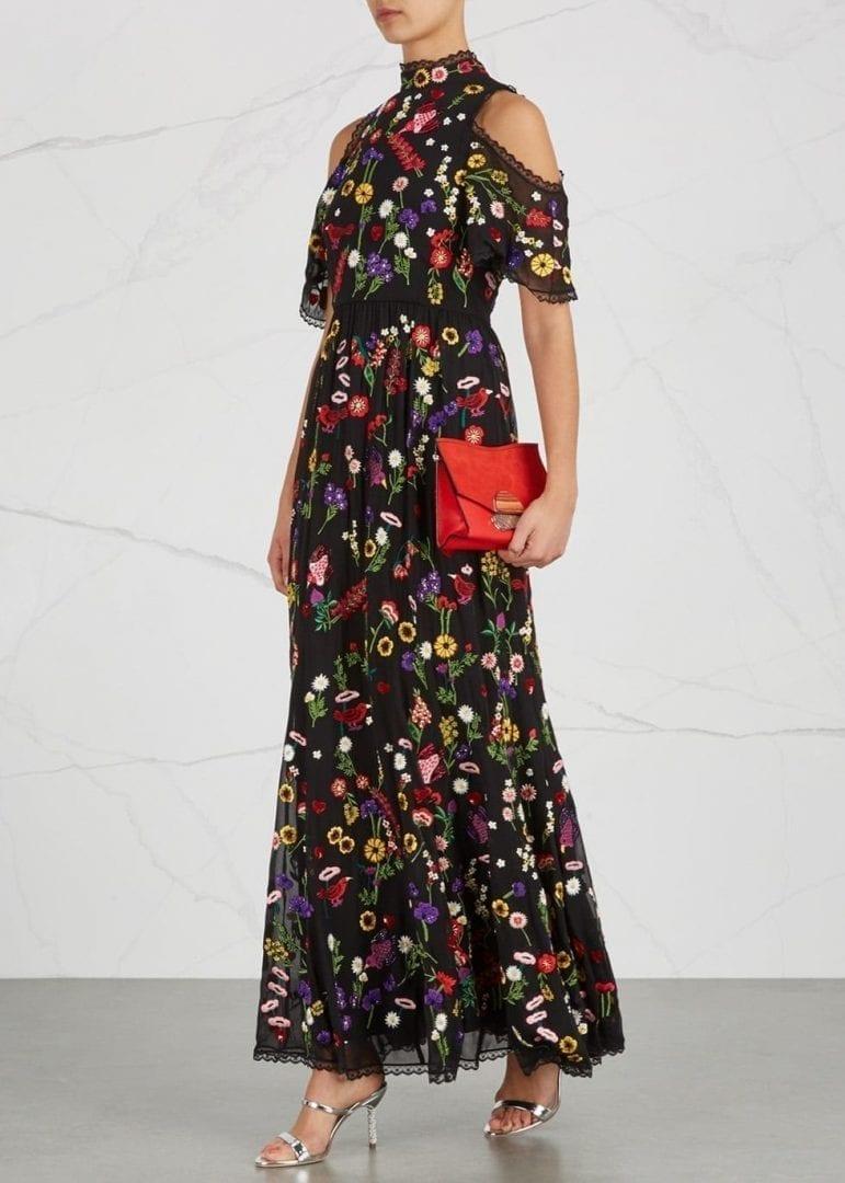 ALICE + OLIVIA Adella Embroidered Open-shoulder Black Dress - We ...