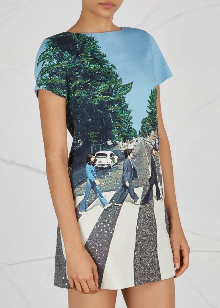 Alice Olivia X The Beatles Stretch Multicoloured Dress