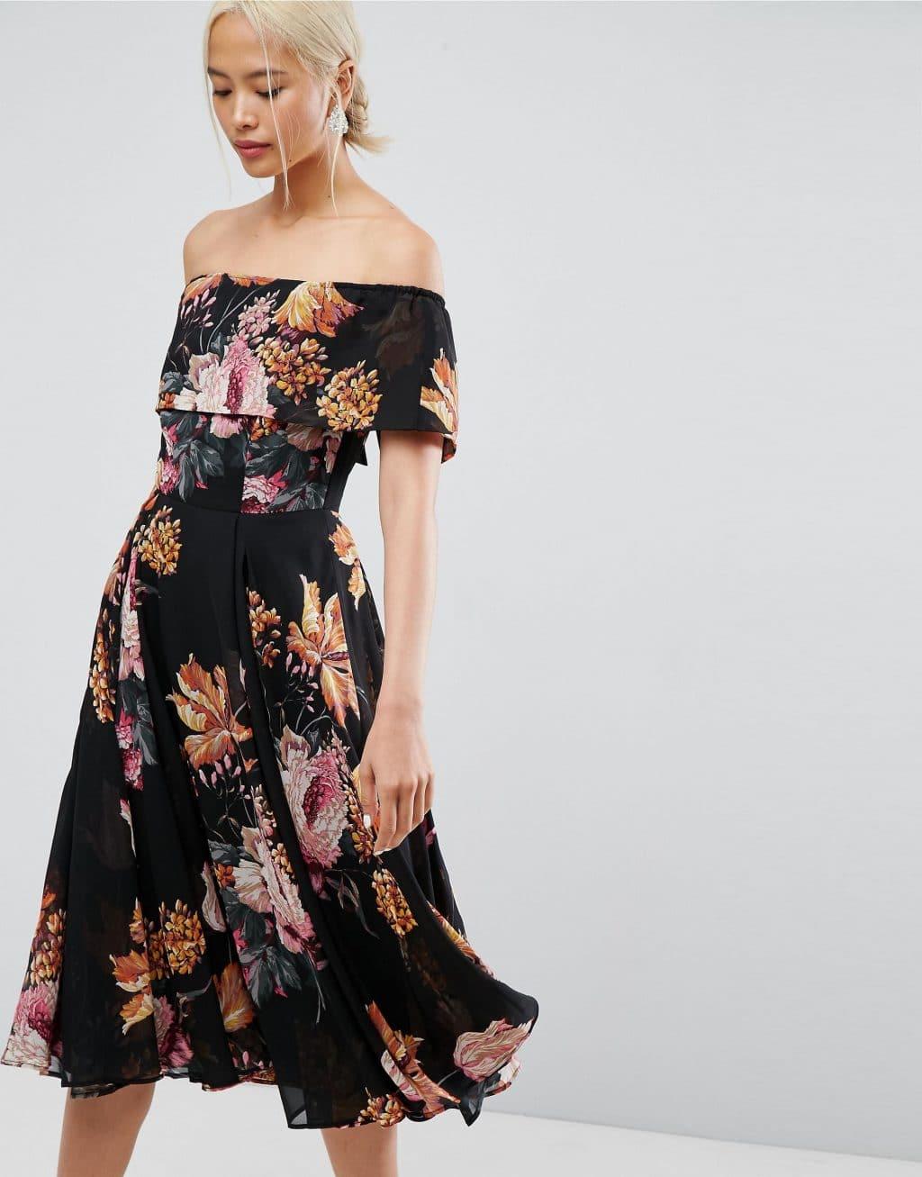 ASOS Bardot Midi Multi / Floral Printed Dress - We Select Dresses