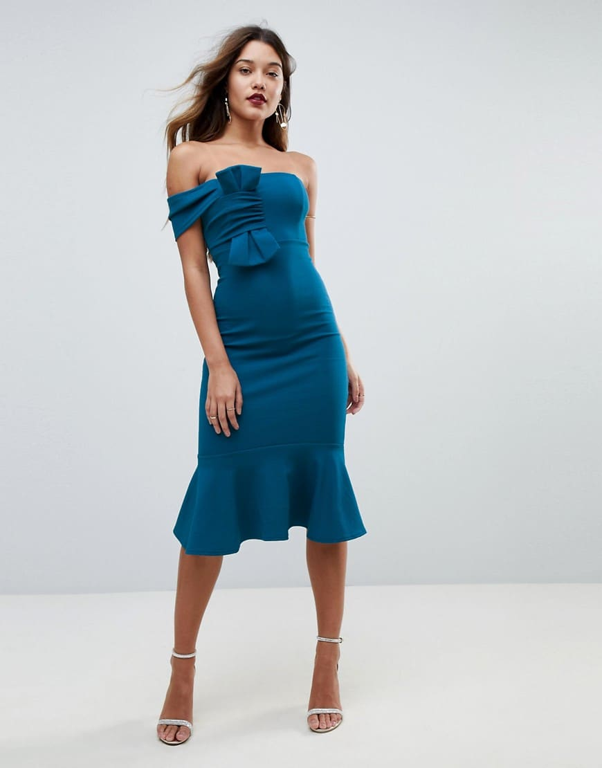 ASOS Crepe Bandeau Bow Front Midi Bodycon Teal Dress