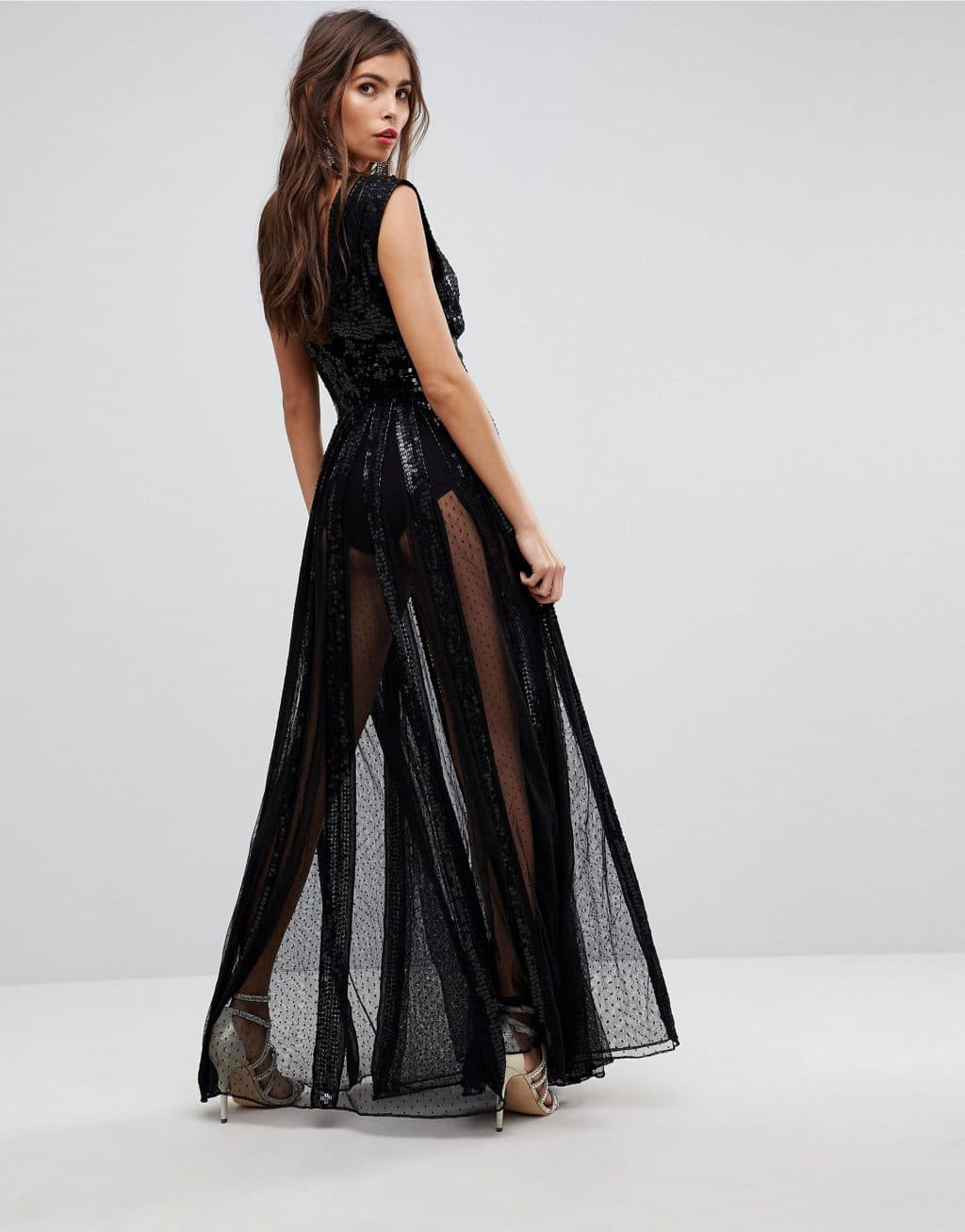 98dfe3d1d547 ASOS EDITION Sequin Mesh Fit and Flare Maxi Black Dress - We Select ...
