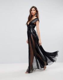 ASOS EDITION Sequin Mesh Fit and Flare Maxi Black Dress