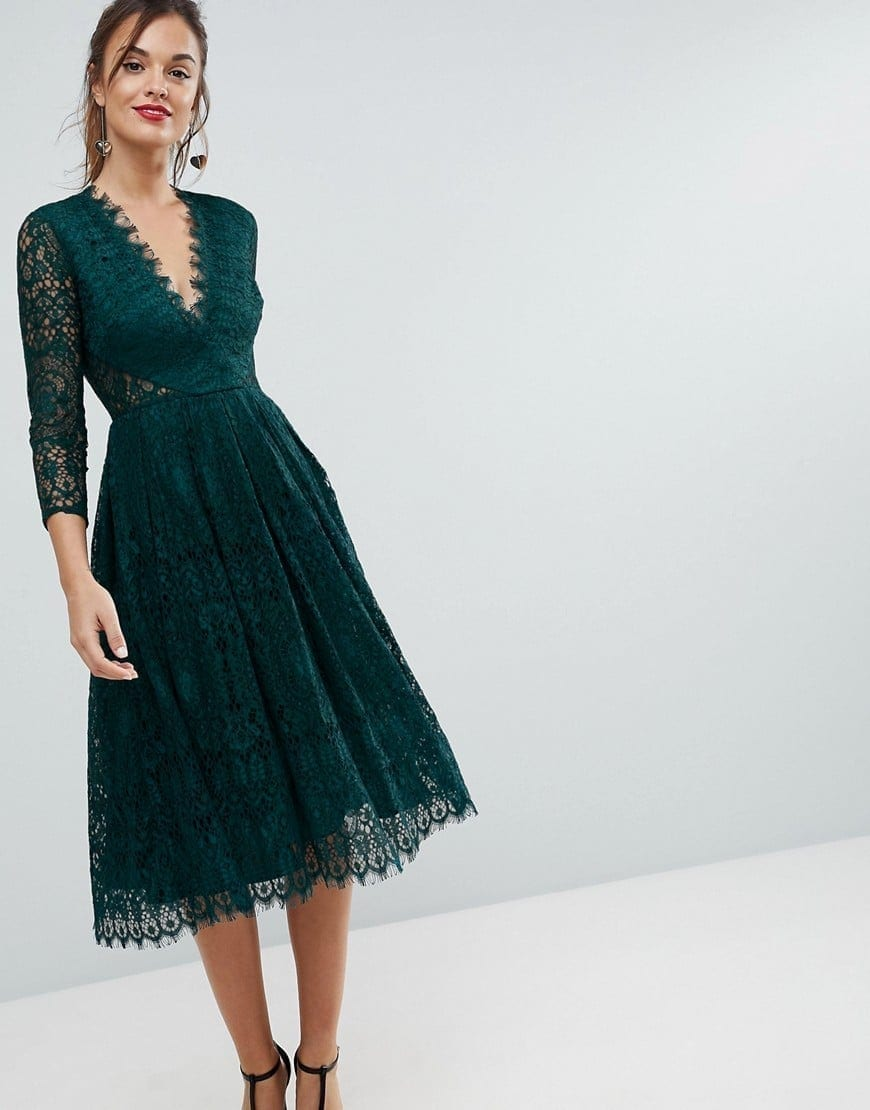 Asos Long Sleeve Lace Midi Prom Forest Green Dress We