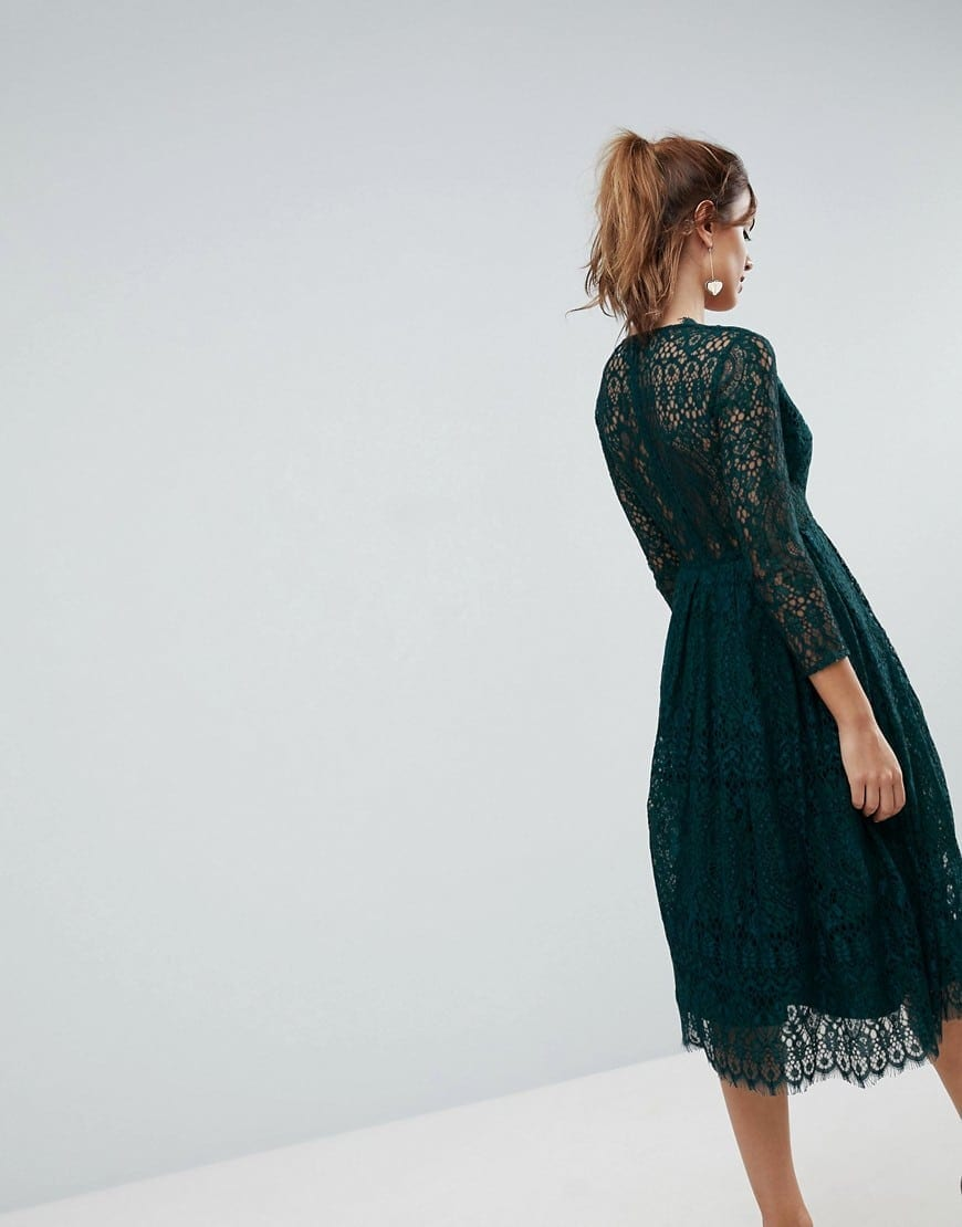 72538a5dc2 ASOS Long Sleeve Lace Midi Prom Forest Green Dress - We Select Dresses