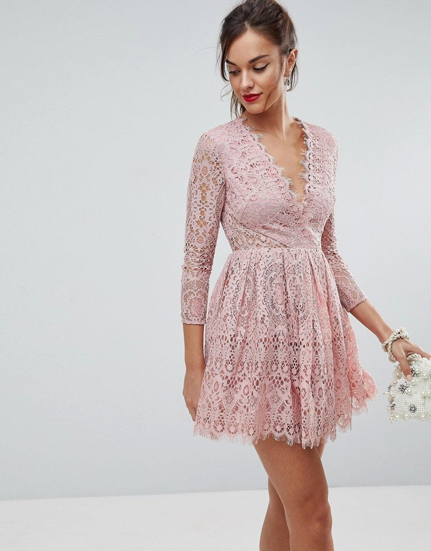 ASOS Long Sleeve Lace Mini Prom Dusty pink Dress