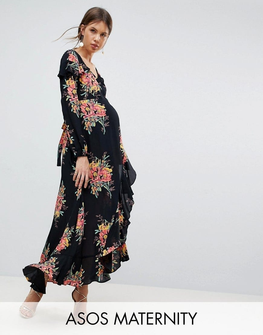 2aba100082d ASOS MATERNITY Long Sleeve Floral Maxi Floral Printed Dress - We ...