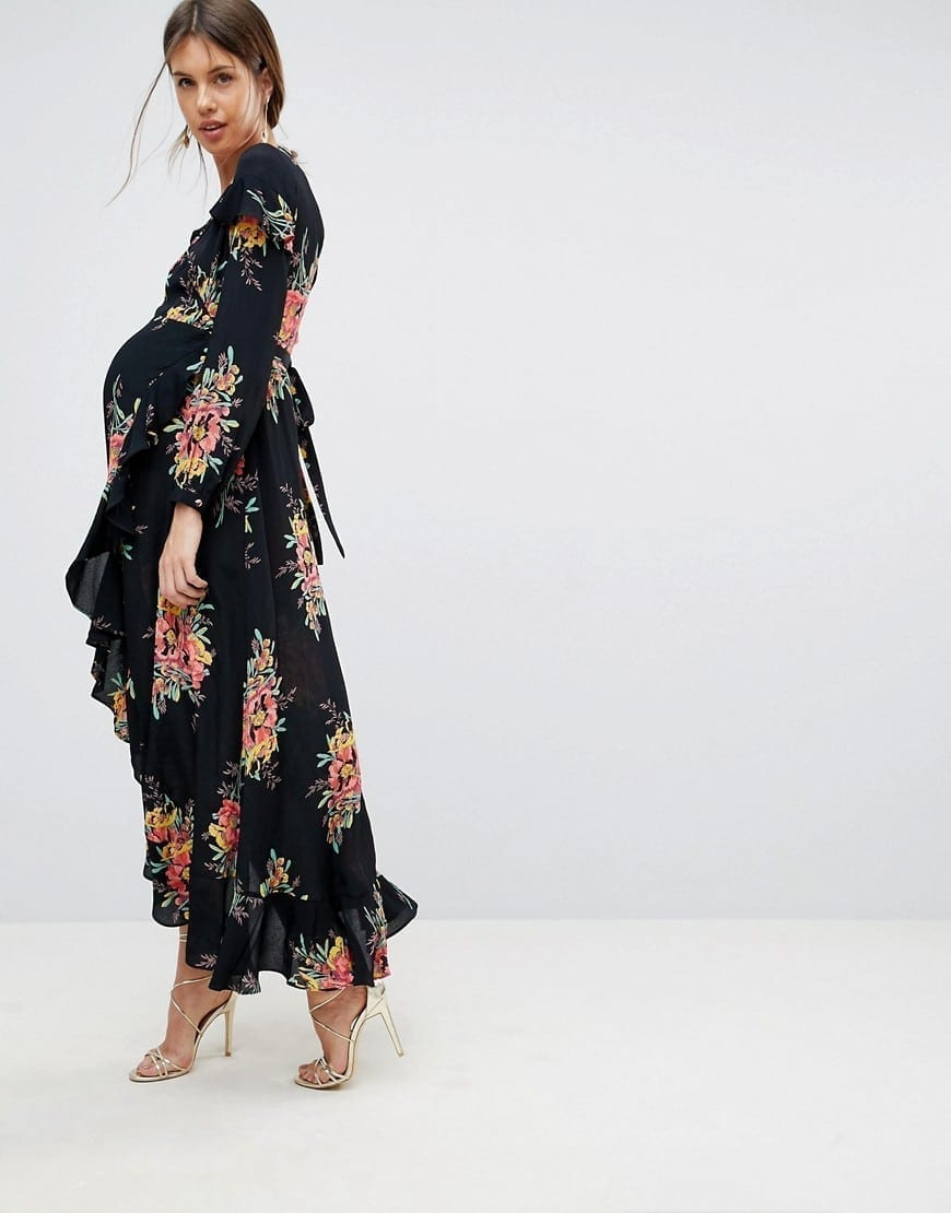 6c95a33527 ASOS MATERNITY Long Sleeve Floral Maxi Floral Printed Dress - We ...