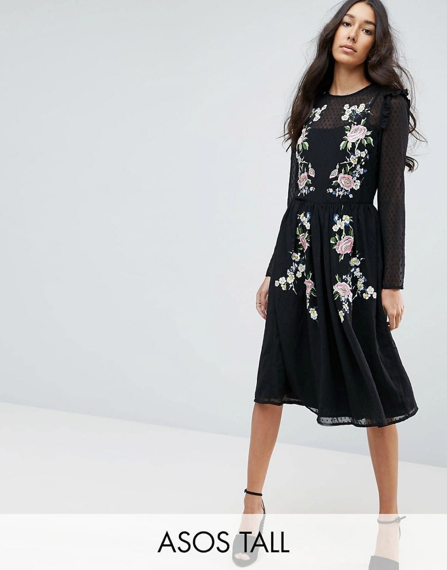 ASOS On Dobby TALL PREMIUM Pretty Embroidered Midi Black Dress