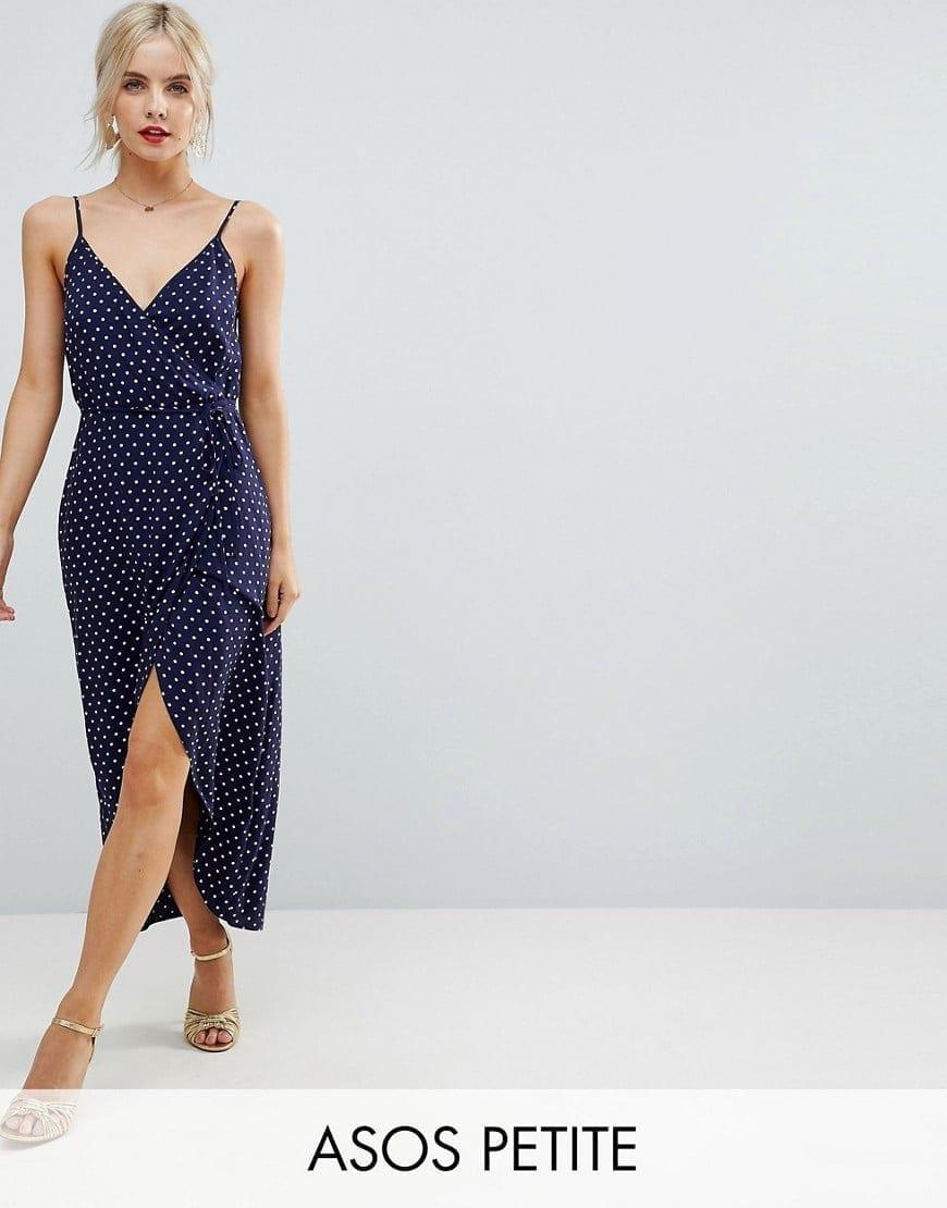 ASOS PETITE Spot Print Wrap Maxi Slip Navy / Polka Dot Printed Dress