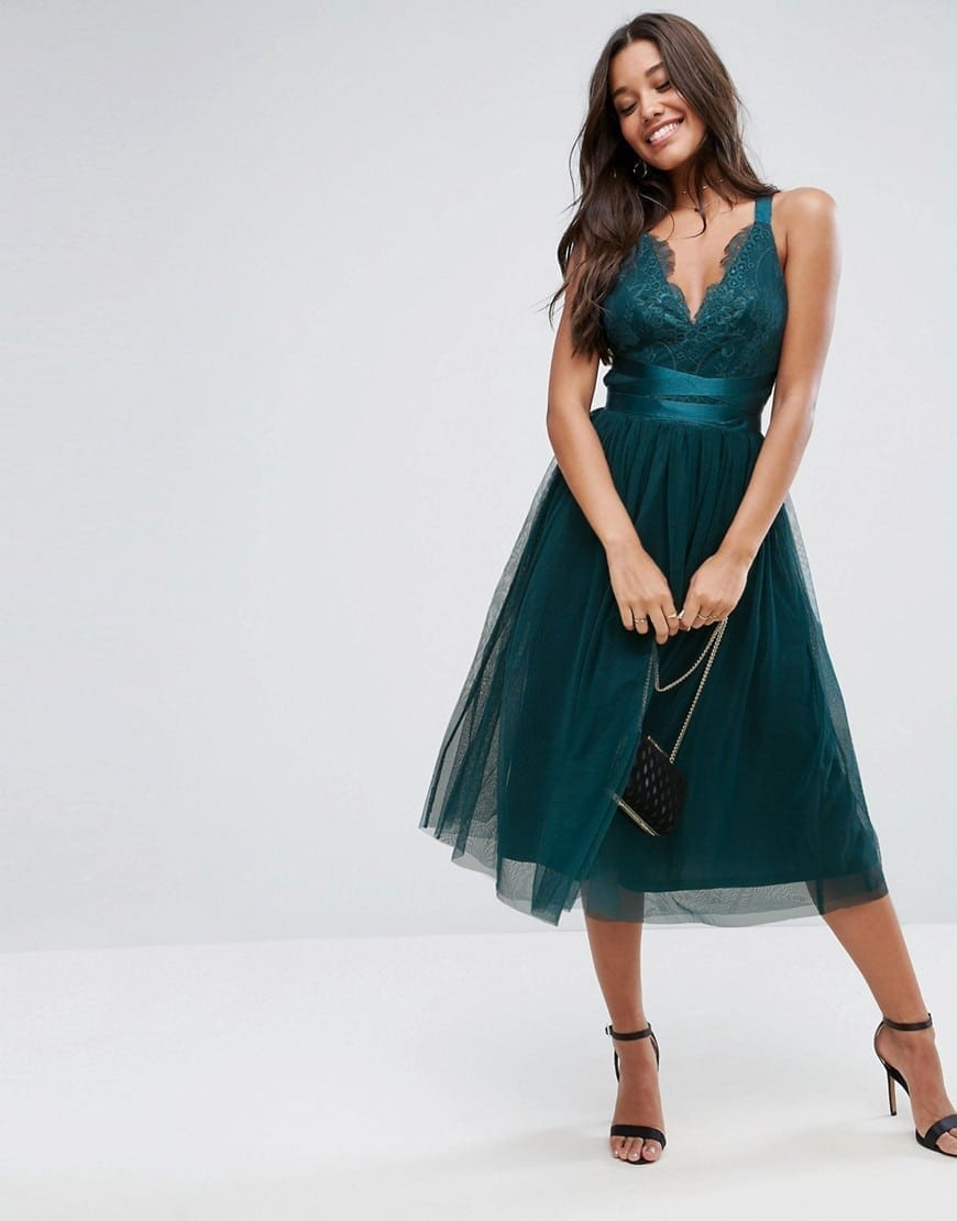 fa0d829c49 ASOS PREMIUM Ribbon Ties Lace Top Tulle Midi Prom Forest Green Dress ...