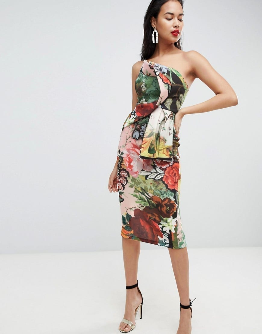 1636f9672f ASOS Postcard Print Bandeau Fold Bodycon Midi Multi   Floral Printed Dress
