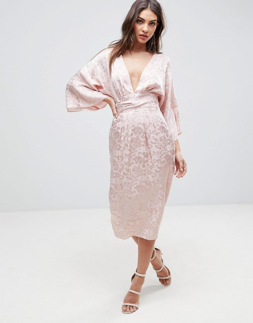 610ef2aa8 ASOS Soft Jacquard Fringe Belt Kimono Pink Dress - We Select Dresses