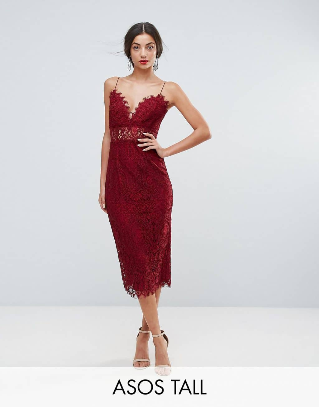 ASOS TALL Lace Cami Midi Pencil Oxblood Dress