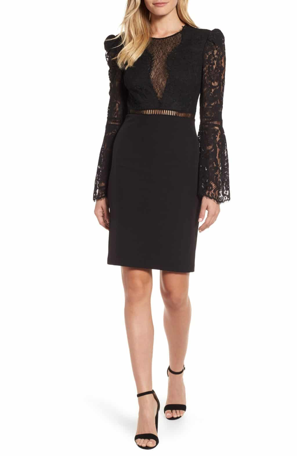 BARDOT Lace Bodice Cocktail Black Dress