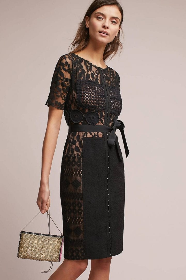 BYRON LARS Carissima Lace Shift Black Dress