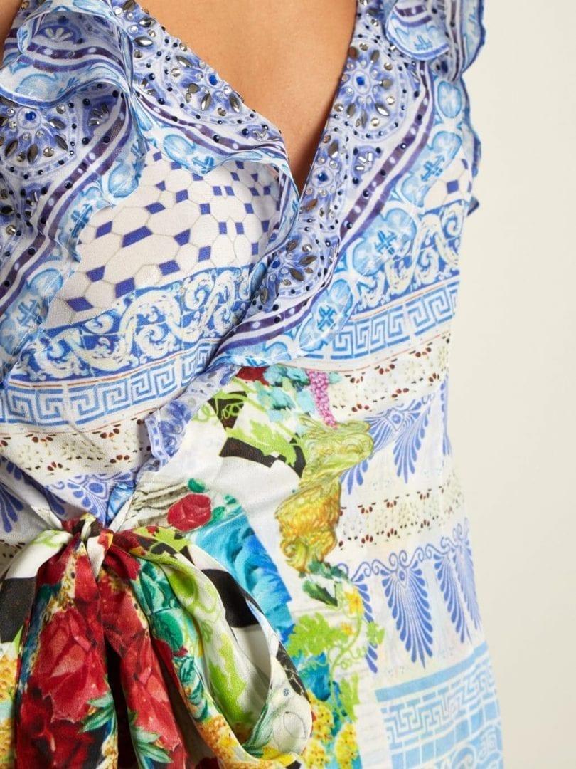 Camilla Masking Madness Silk Wrap Multicoloured Dress We