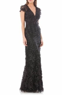 CARMEN MARC VALVO INFUSION Petals Embellished Black Gown