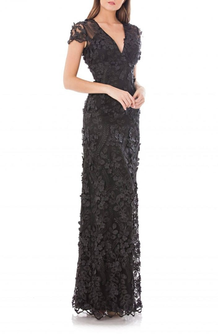 CARMEN MARC VALVO INFUSION Petals Embellished Black Gown - We Select ...