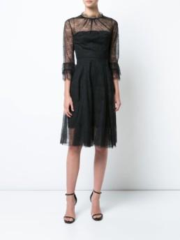 CAROLINA HERRERA Lace Embroidered Black Dress
