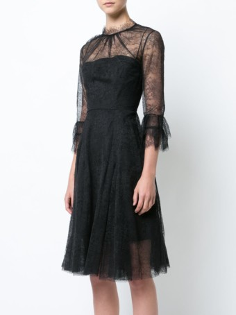 CAROLINA HERRERA Lace Embroidered Black Dress