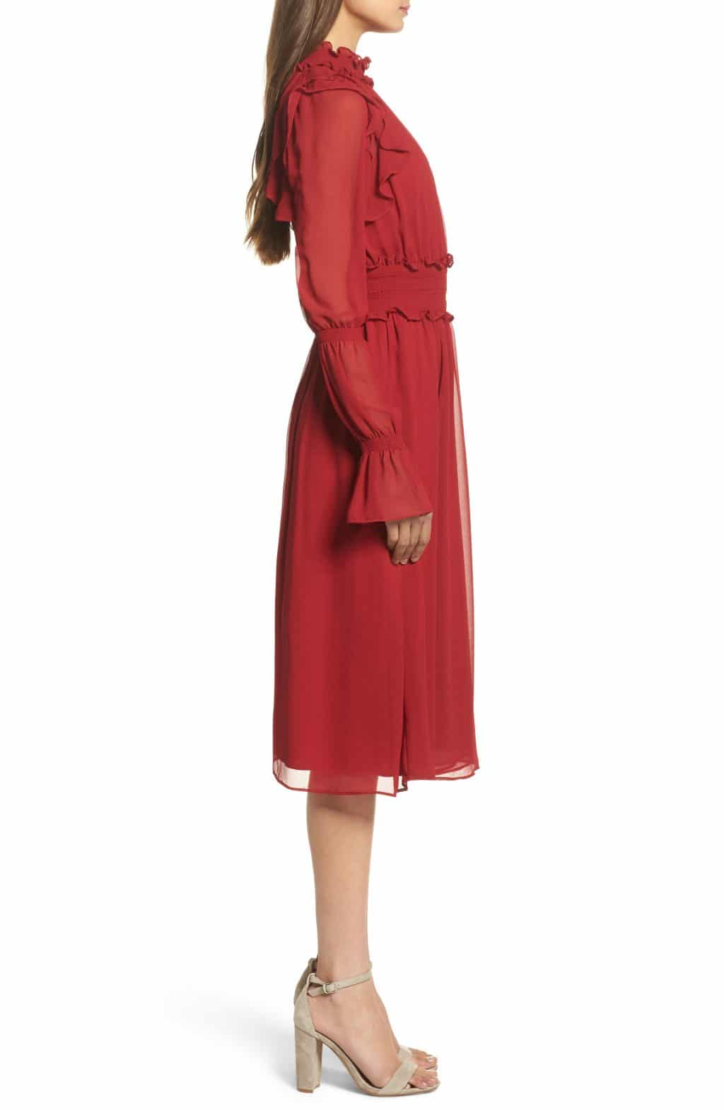 Chelsea28 Ruffle Midi Red Jester Dress