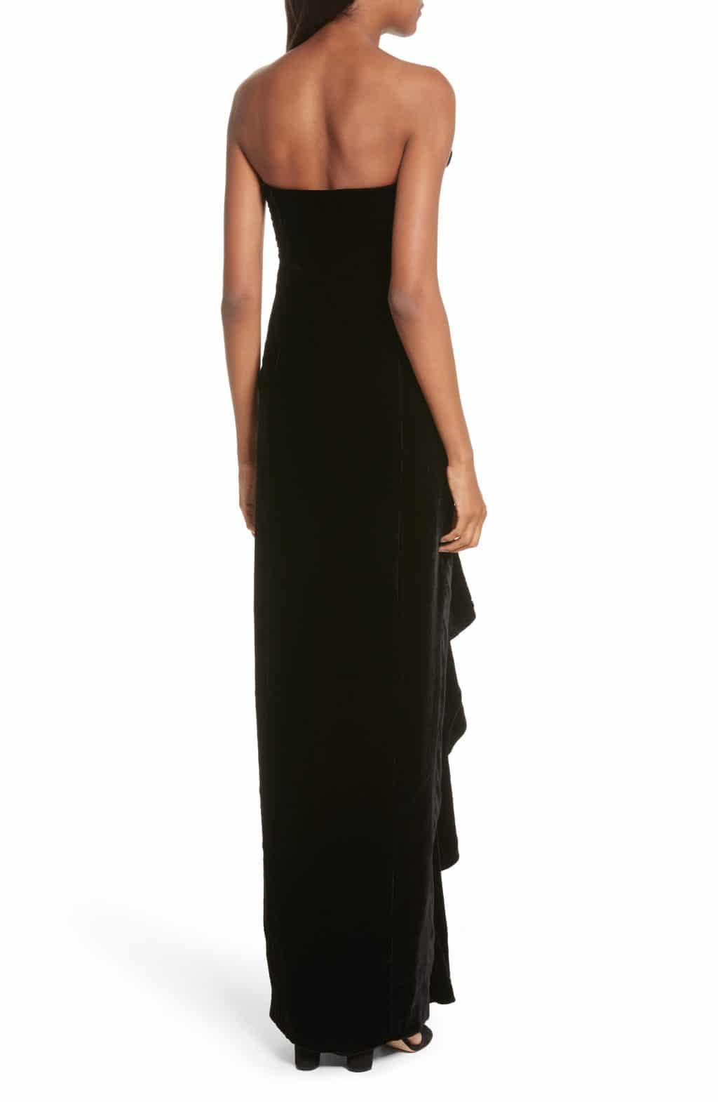 CINQ À SEPT Annoziata Strapless Velvet Black Gown - We Select Dresses