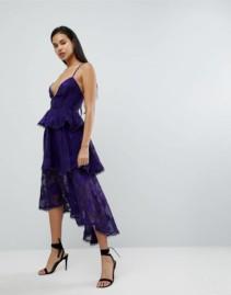 DARK PINK Burnout Floral Tierred Ruffle High Low Midi Dark Purple Dress