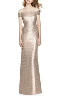 DESSY COLLECTION Sequin Off The Shoulder Rose Gold Gown