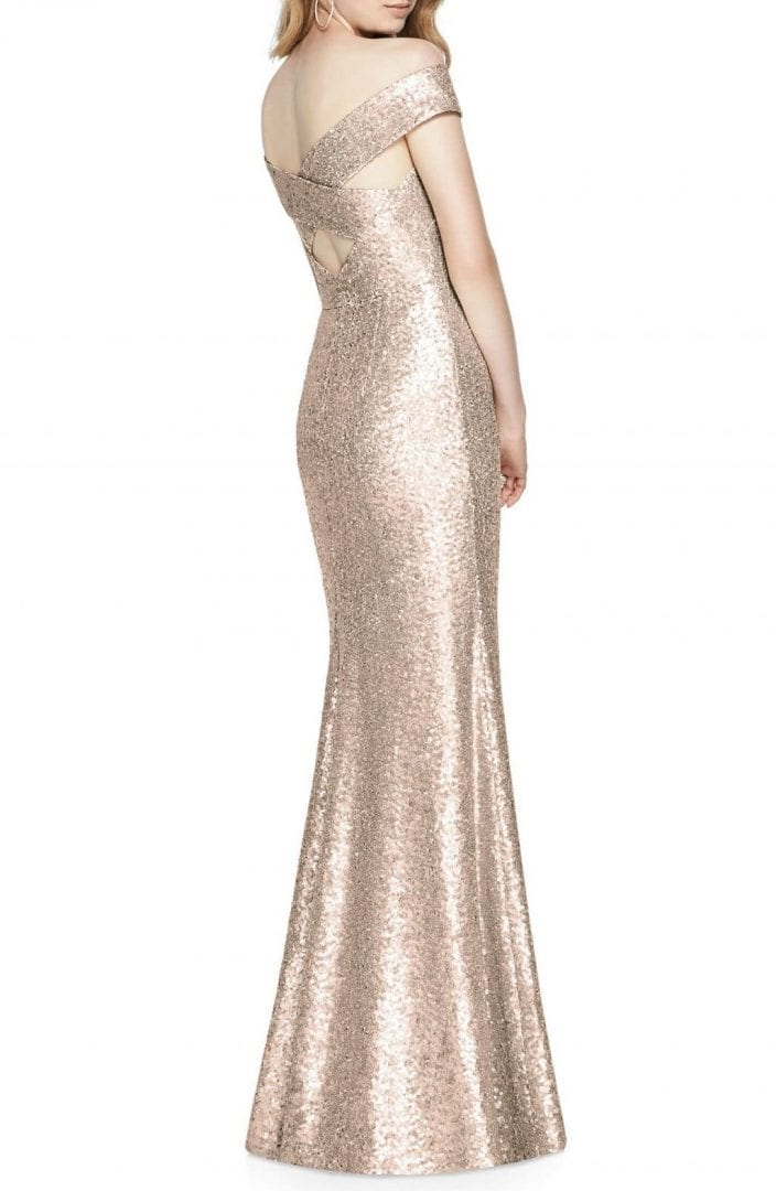 DESSY COLLECTION Sequin Off The Shoulder Rose Gold Gown - We Select ...
