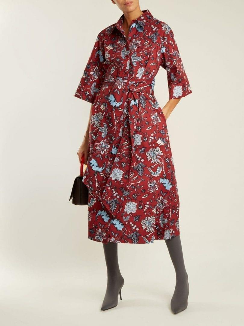 734503f94e8ec9 DIANE VON FURSTENBERG Canton Print Stretch Cotton Burgundy / Red Dress