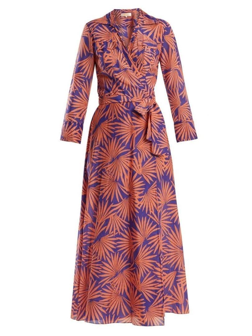DIANE VON FURSTENBERG Graphic Print Cotton Blend Wrap Midi Purple Burnt Orange Dress