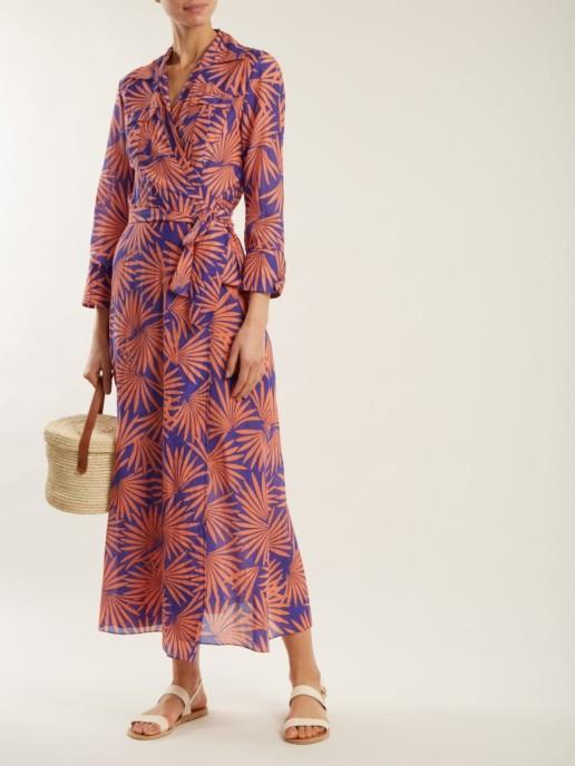 DIANE VON FURSTENBERG Graphic-print Cotton Blend Wrap Midi Purple / Burnt-Orange Dress