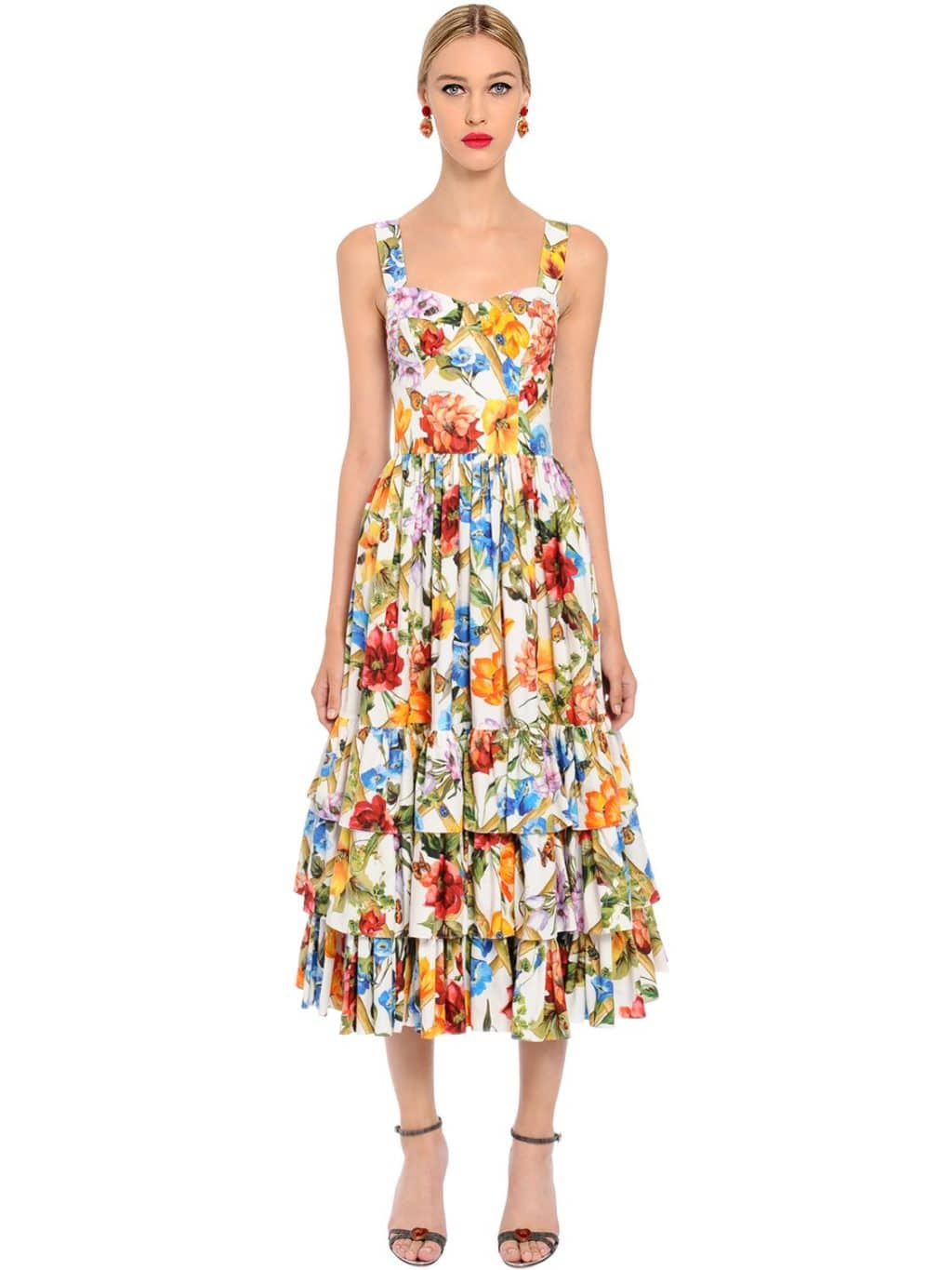 bf85499196 DOLCE & GABBANA Bamboo Printed Cotton Poplin Midi Multi Color Dress ...