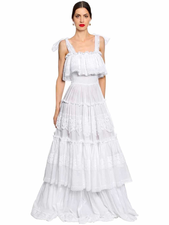 DOLCE & GABBANA Sicilian Lace Cotton Batiste Long White Dress - We ...