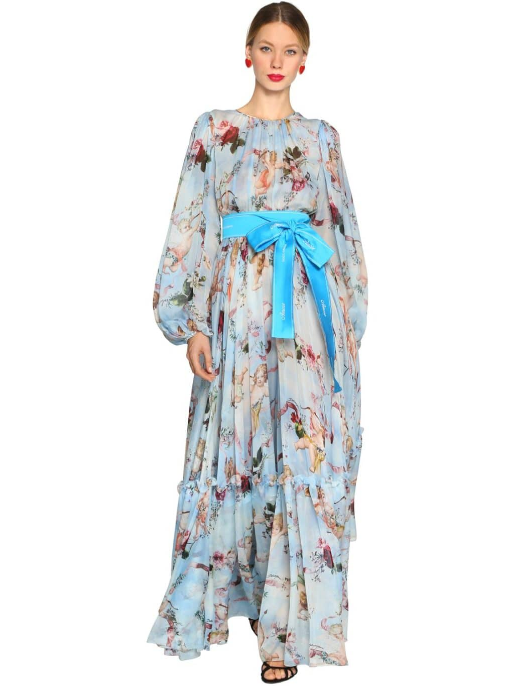 Dolce Amp Gabbana Silk Chiffon Long Multi Color Angles