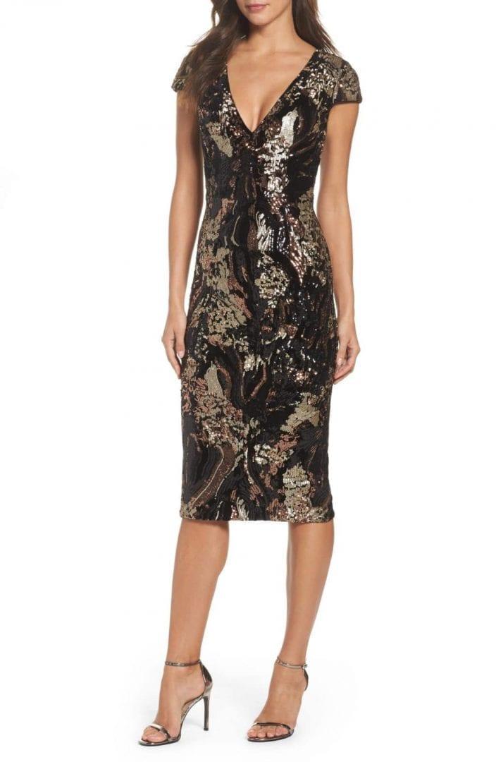 b27f1514 DRESS THE POPULATION Allison Sequin Velvet Body-Con Black / Bronze Dress