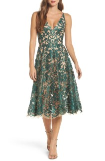 DRESS THE POPULATION Blair Embellished Fit & Flare Emerald / Nude Dress