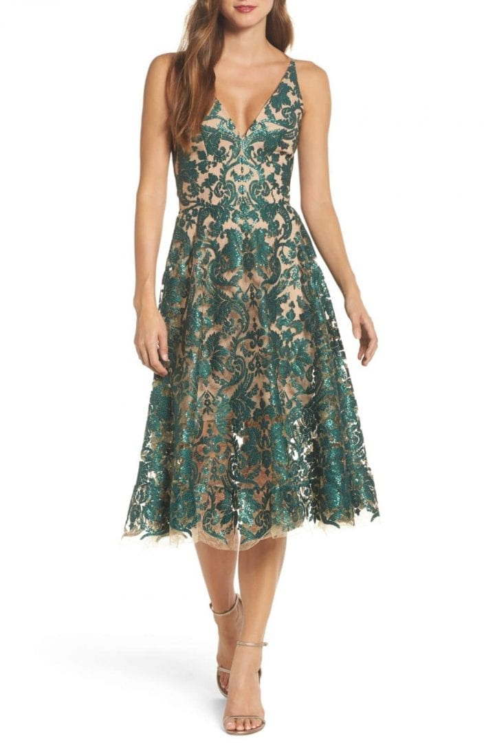 3b02dc1451dcb DRESS THE POPULATION Blair Embellished Fit & Flare Emerald / Nude Dress
