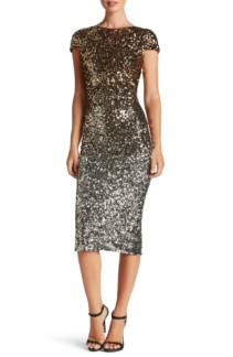 DRESS THE POPULATION Marcella Ombré Sequin Body-Con Silver / Gold Dress
