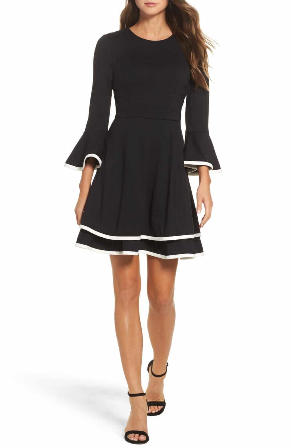 ELIZA J Bell Sleeve Fit & Flare Black / Ivory Dress - We Select Dresses