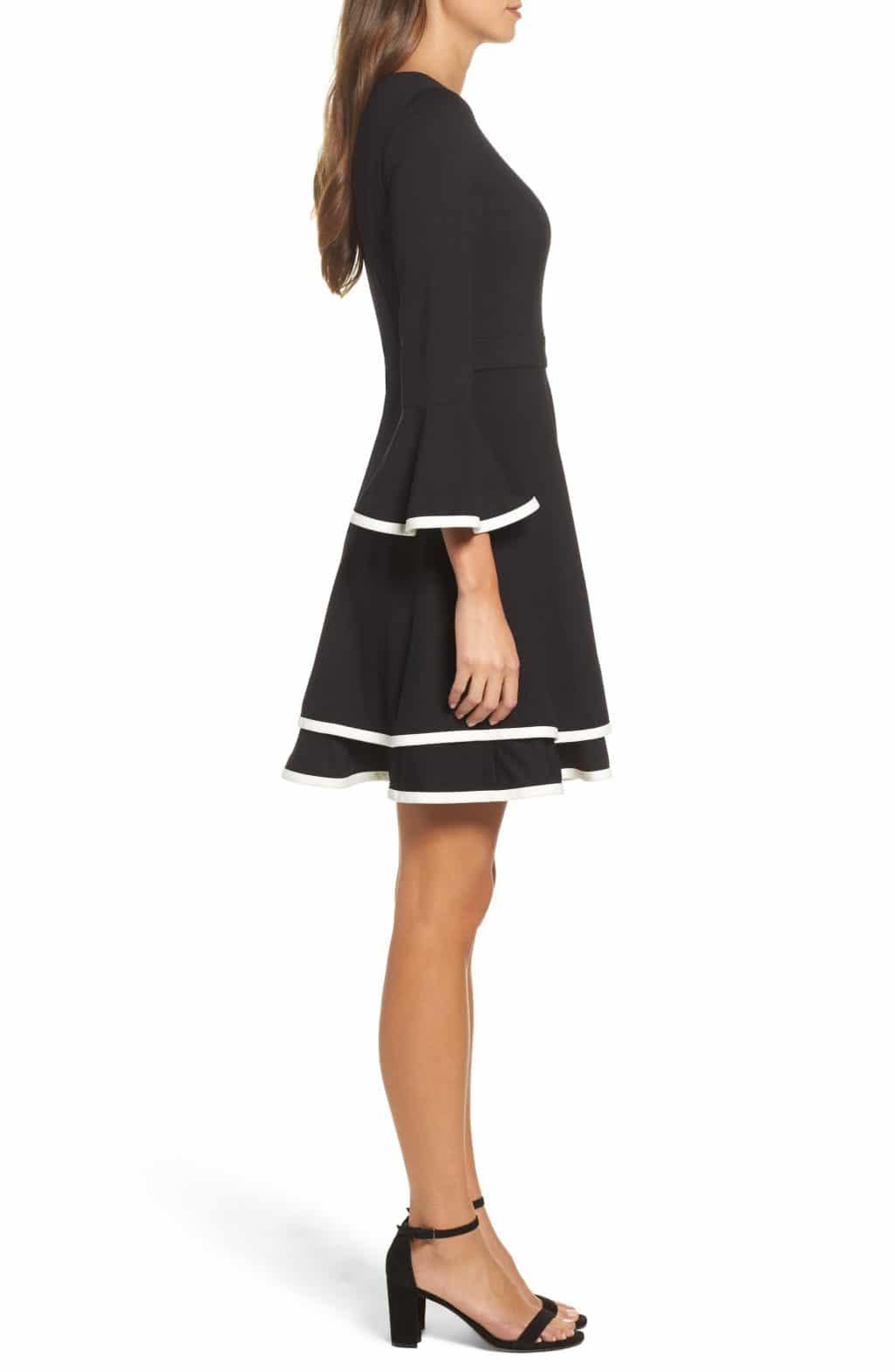 ELIZA J Bell Sleeve Fit Flare Black Ivory Dress 3 - beach wedding guest dresses casual