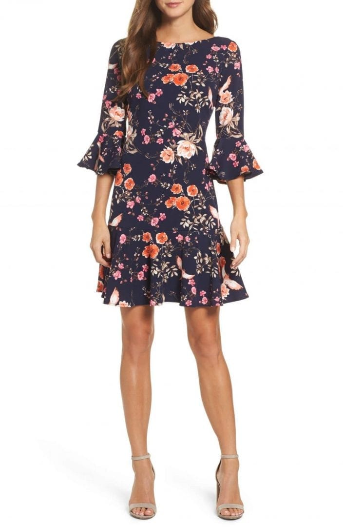 ELIZA J Bell Sleeve Flounce Navy Dress - We Select Dresses