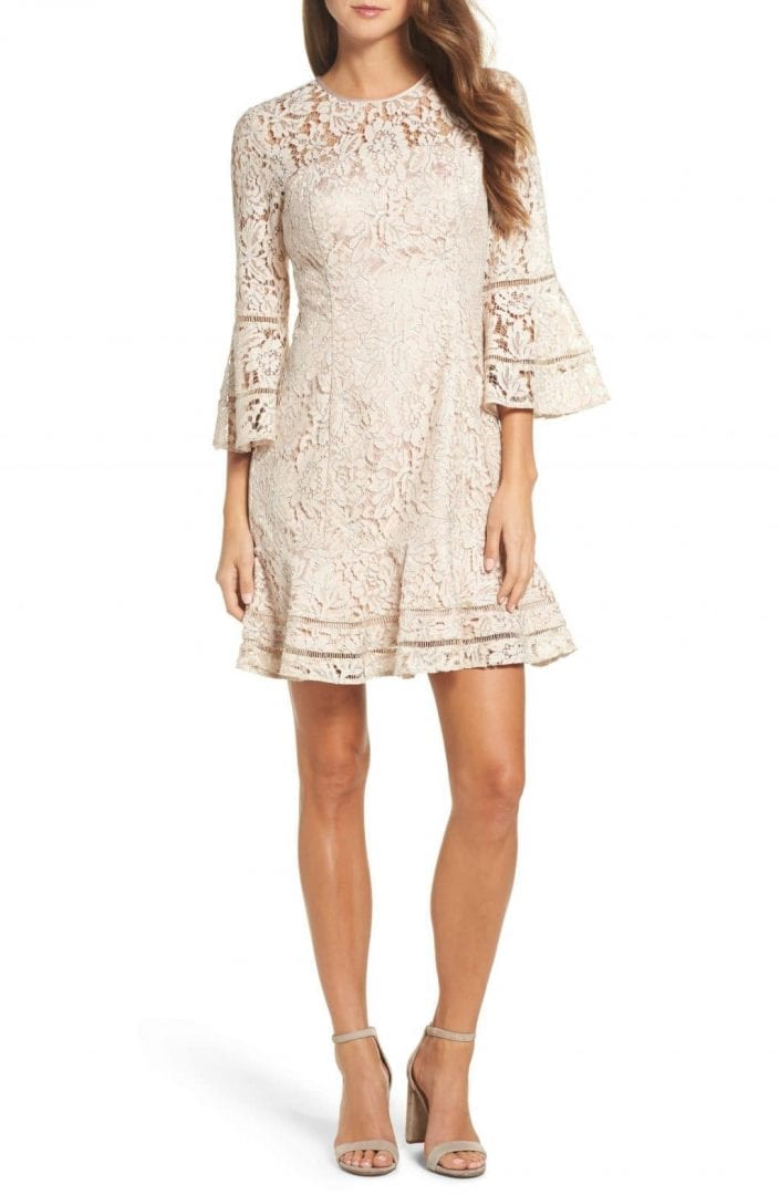 ELIZA J Lace Bell Sleeve Blush / Silver Dress