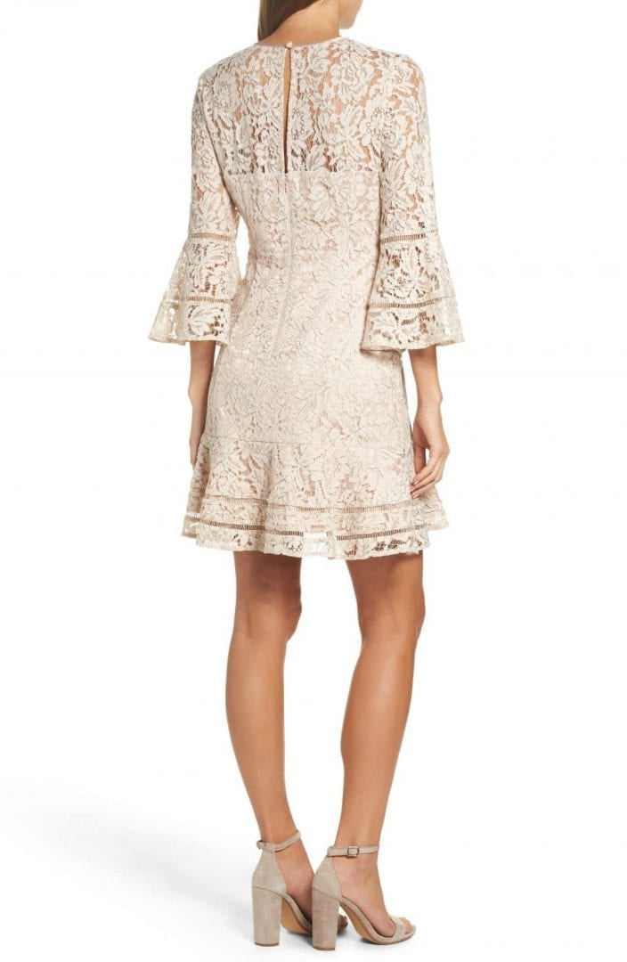 ELIZA J Lace Bell Sleeve Blush / Silver Dress - We Select Dresses