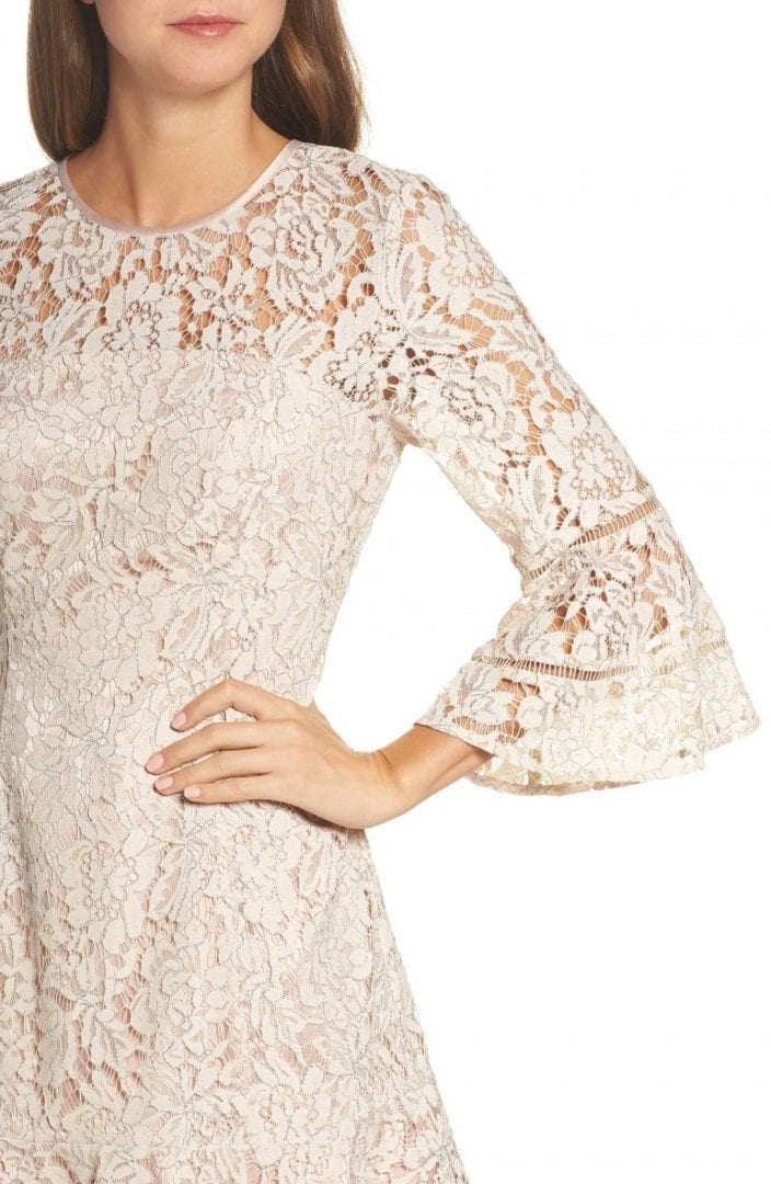 18b7ac3fce9d ELIZA J Lace Bell Sleeve Blush / Silver Dress - We Select Dresses