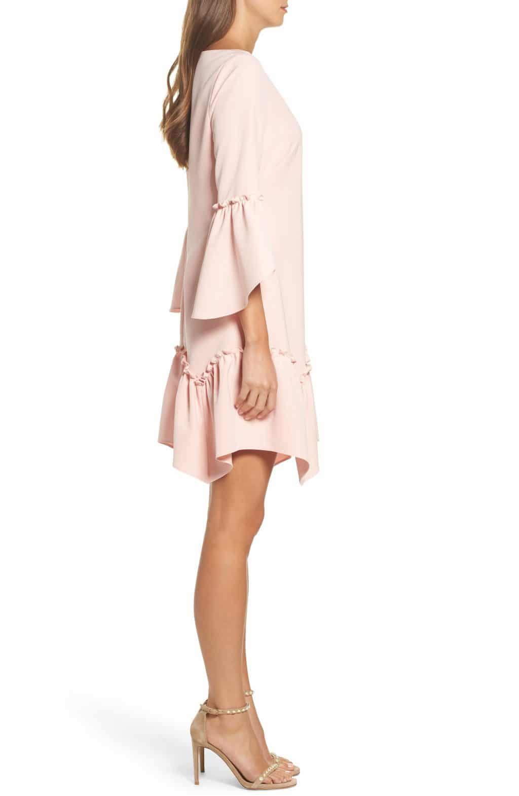 ELIZA J Ruffle Hem Shift Blush Dress - We Select Dresses