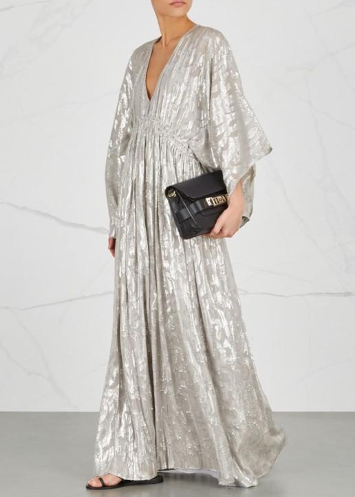 ELIZABETH AND JAMES Raquel Fil Coupé Silk Maxi Light Grey Dress