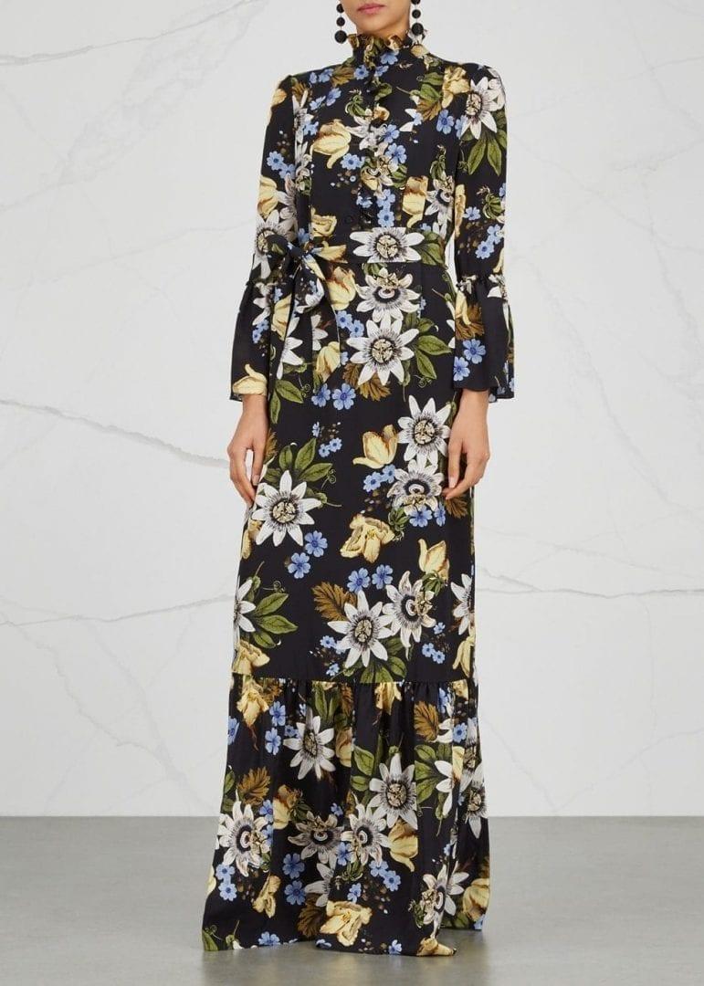 Erdem Stephanie Silk Maxi Multi Color Floral Printed Dress We