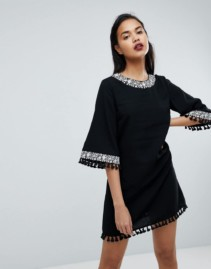 FASHION UNION Fringe Detail Shift Black Dress